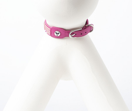 Fine Leather Collars - Pink Flower